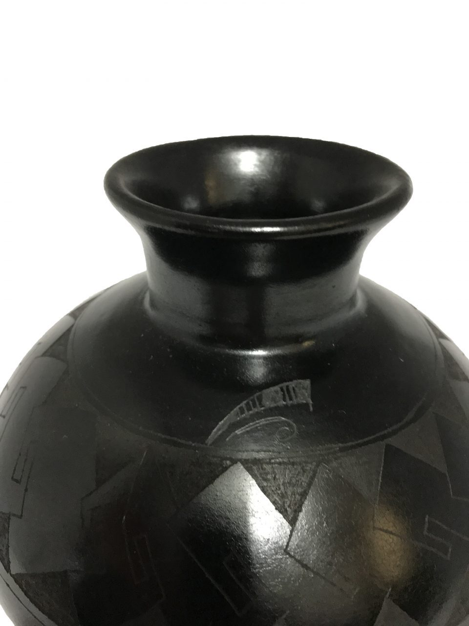 Black Pottery Small Footed Vase (7)
