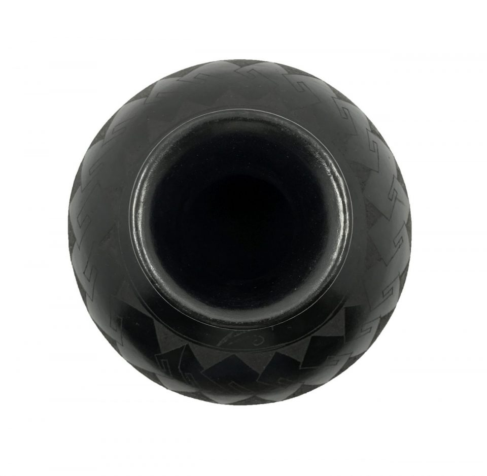 Black Pottery Small Footed Vase (8)
