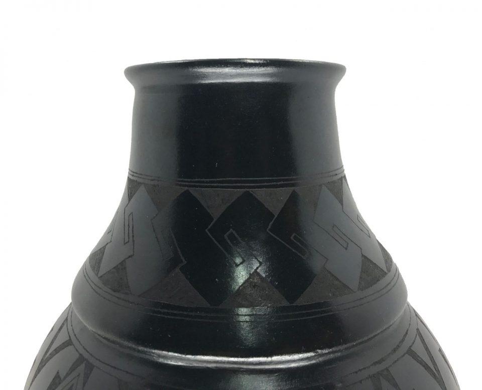 Black Pottery Angled Vase (4)