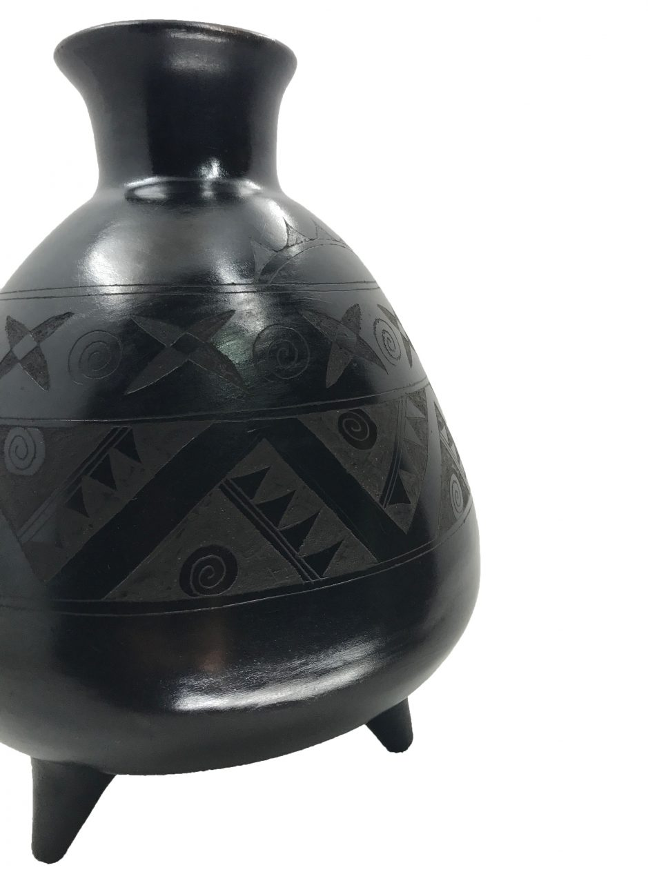 Black Pottery Footed Vase (3)