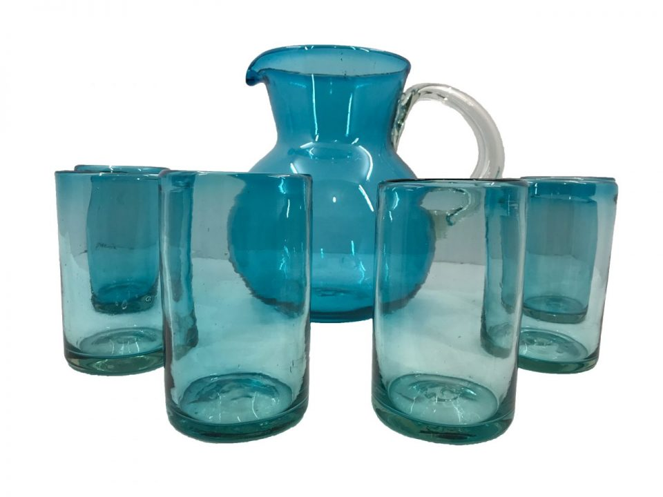 Blown Glass Tumblers & Pitcher I (1)
