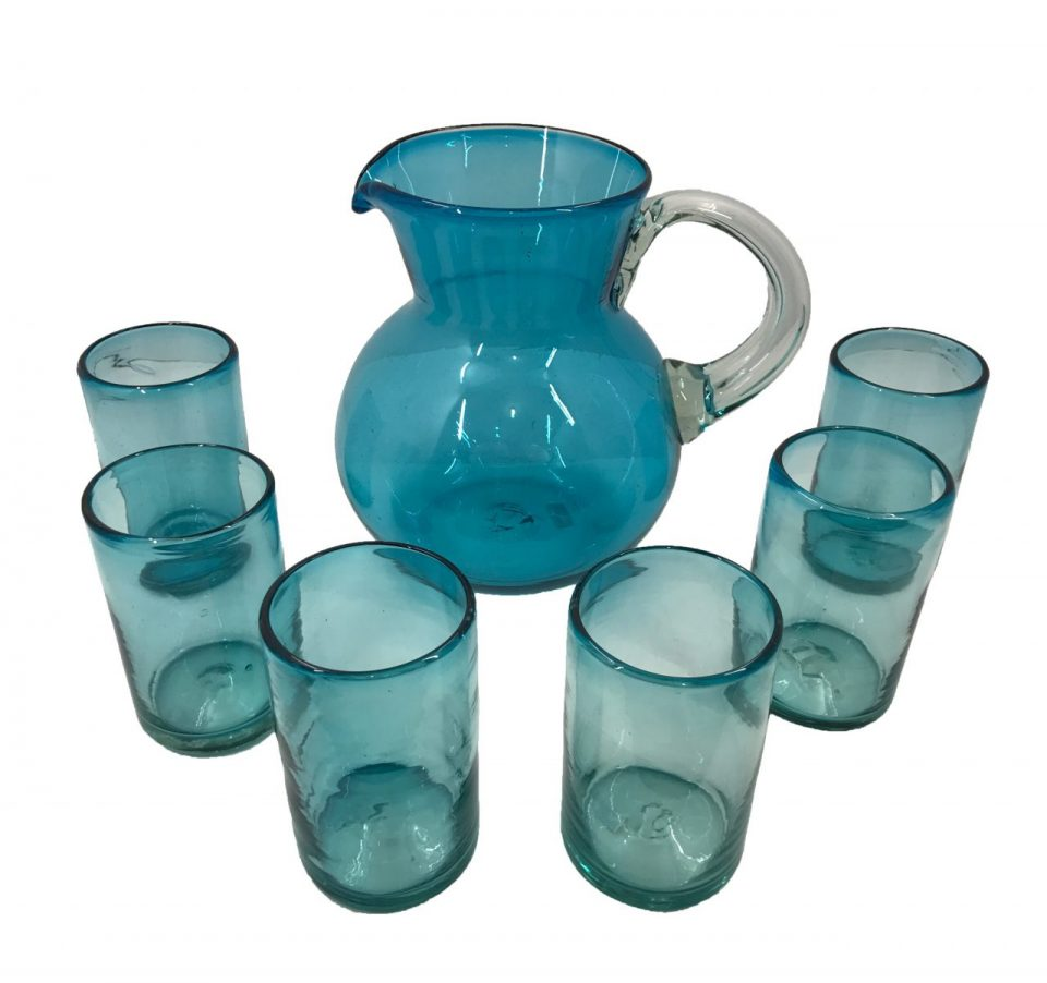 Blown Glass Tumblers & Pitcher I (2)