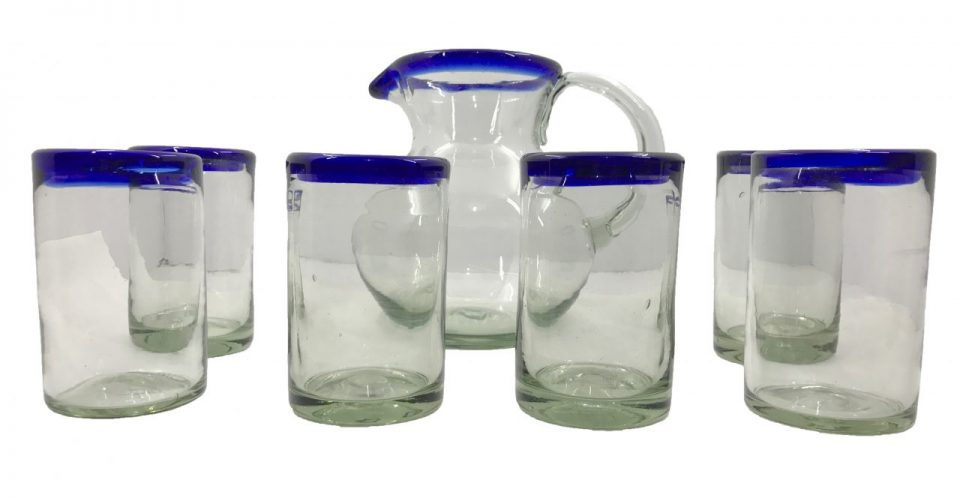 Blown Glass Tumblers & Pitcher II (1)
