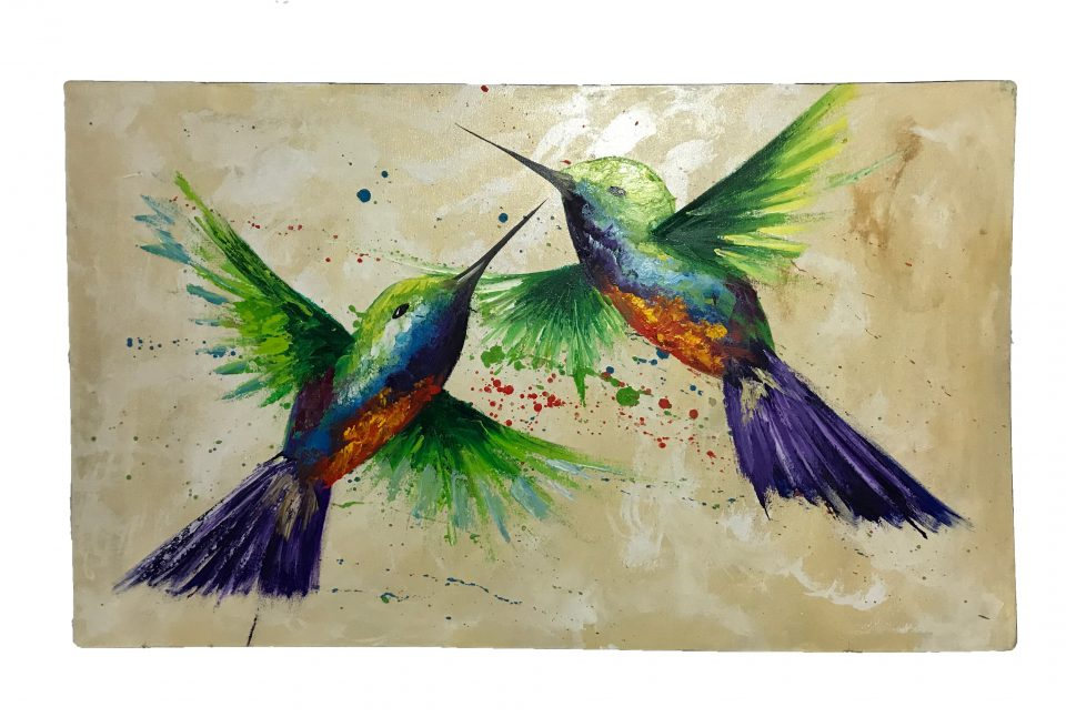 Two Hummingbirds Oil Painting