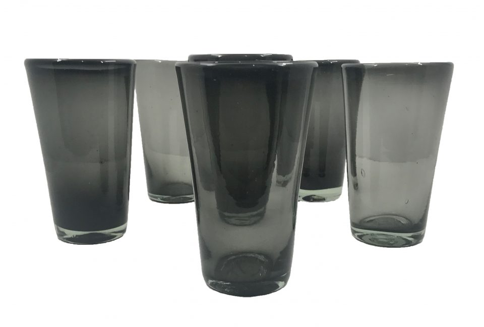 Dark Grey Blown Glass Water Glasses (1)