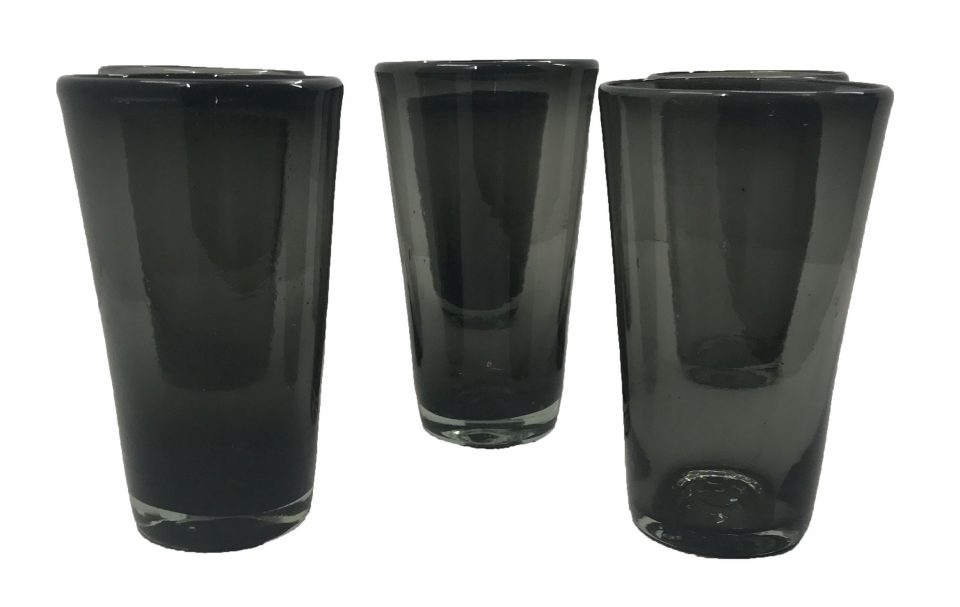 Dark Grey Blown Glass Water Glasses (2)