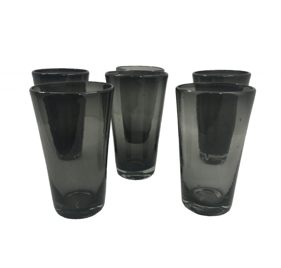Dark Grey Blown Glass Water Glasses (4)