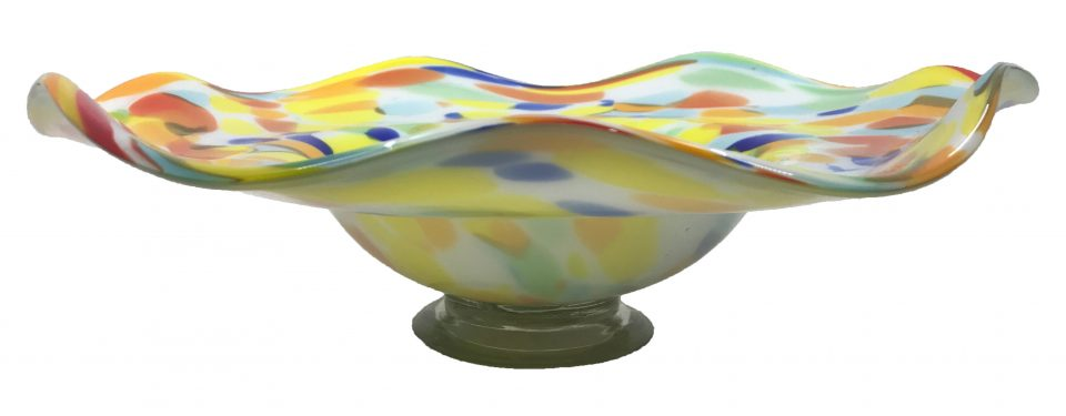 Hand Blown Glass Art Wall Bowl Platter (1)