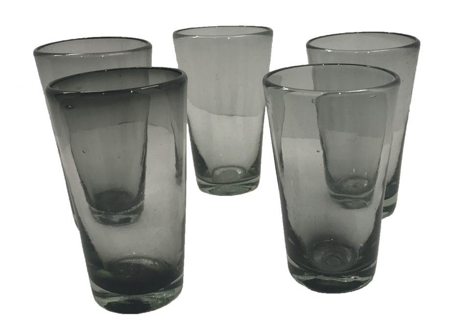 Smoke Grey Blown Glass Water Glasses (3)