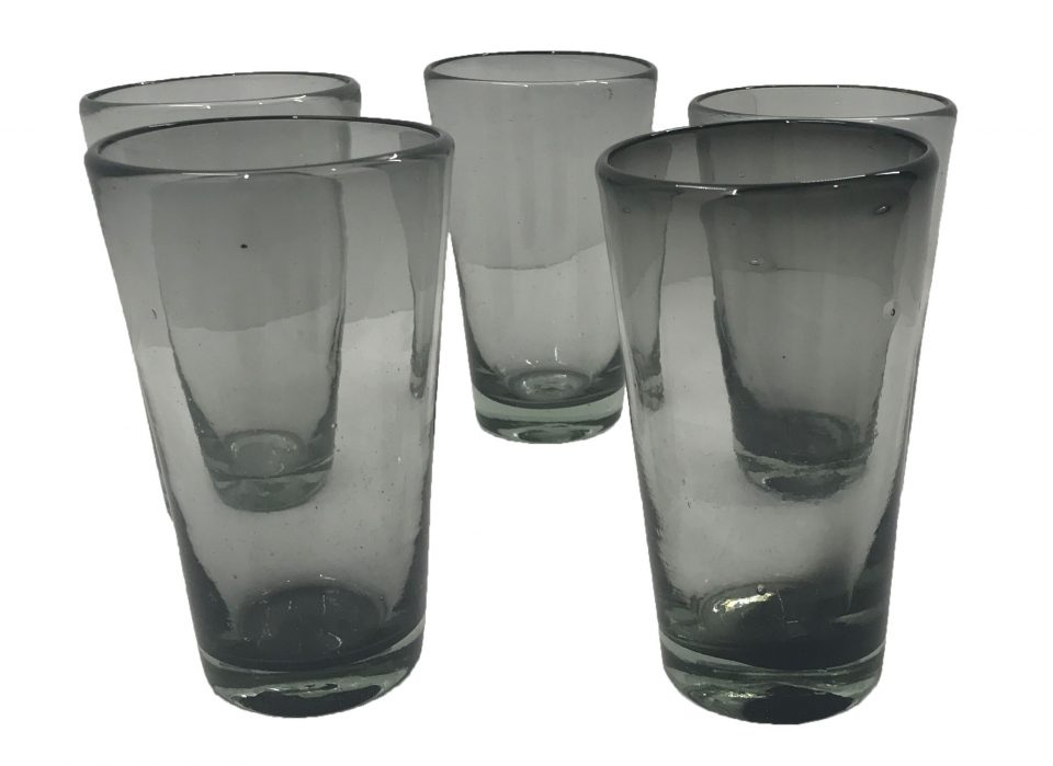 Smoke Grey Blown Glass Water Glasses (4)