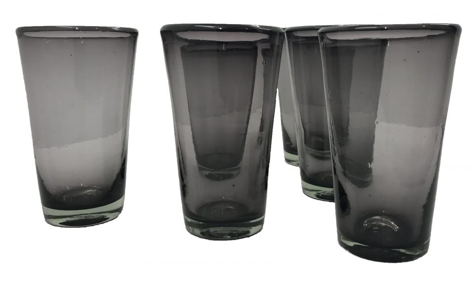 Smoked Grey Blown Glass Tumblers Set (2)