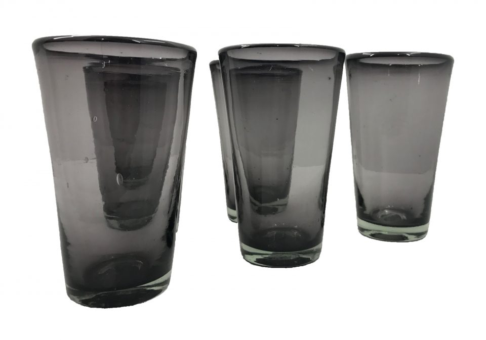 Smoked Grey Blown Glass Tumblers Set (3)